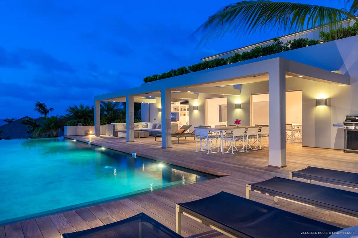 Eden Rock Villa Rental - Eden House - Outside night - Laurent Benoit-jpg